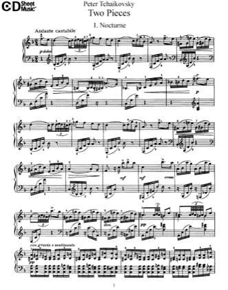 Thumbnail of first page of 2 Pieces, Op.10 piano sheet music PDF by Tchaikovsky.