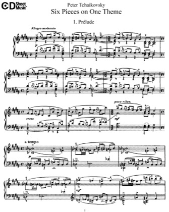 Thumbnail of first page of 6 Pieces, Op.21 piano sheet music PDF by Tchaikovsky.