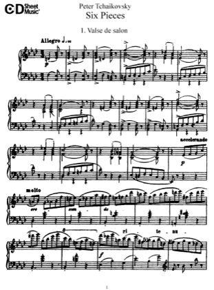 Thumbnail of first page of 6 Pieces, Op.51 piano sheet music PDF by Tchaikovsky.