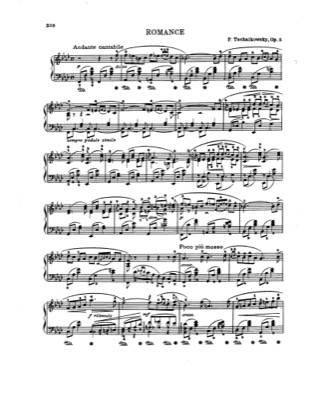 Thumbnail of first page of Romance, Op.5 piano sheet music PDF by Tchaikovsky.