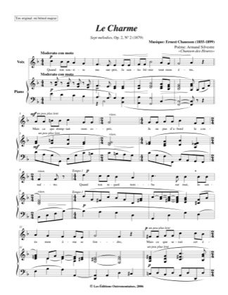 Thumbnail of first page of No. 2: Le Charme piano sheet music PDF by Chausson.