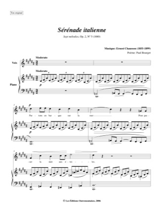 Thumbnail of first page of No. 5: Serenade Italienne piano sheet music PDF by Chausson.