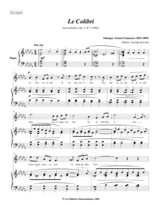 Thumbnail of first page of No. 7: Le Colibri piano sheet music PDF by Chausson.