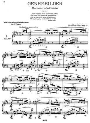 Thumbnail of first page of 6 Genrebilder, Op.13 piano sheet music PDF by Goetz.