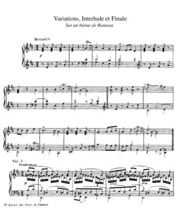 Thumbnail of first page of Variations, Interlude et Finale sur un Theme de Rameau piano sheet music PDF by Rameau.