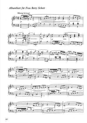 Thumbnail of first page of Albumblatt fur Frau Betty Schott piano sheet music PDF by Wagner.