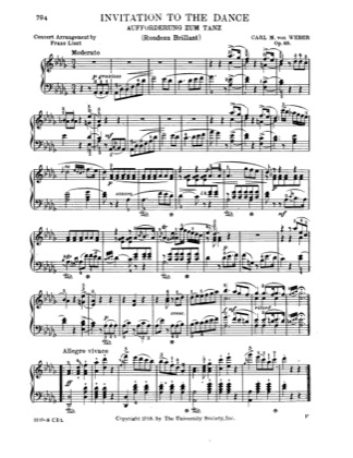 Thumbnail of first page of Invitation to the dance, Op.65 piano sheet music PDF by Weber.