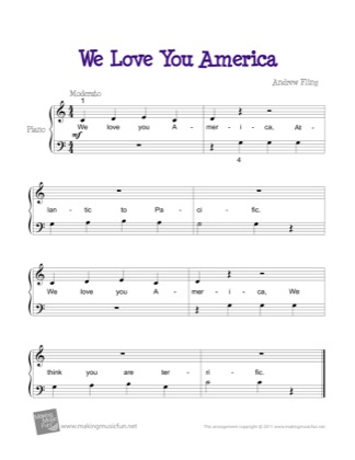 Thumbnail of first page of We Love You America piano sheet music PDF by Kids.