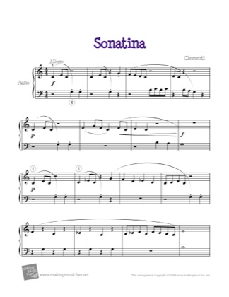 Thumbnail of first page of Sonatina piano sheet music PDF by Clementi.