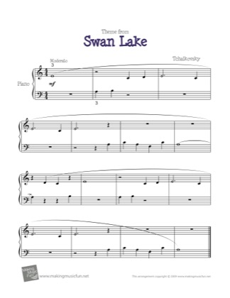 Thumbnail of first page of Swan Lake (Theme) piano sheet music PDF by Tchaikovsky.