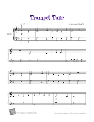 Thumbnail of first page of Trumpet Tune piano sheet music PDF by Kids.