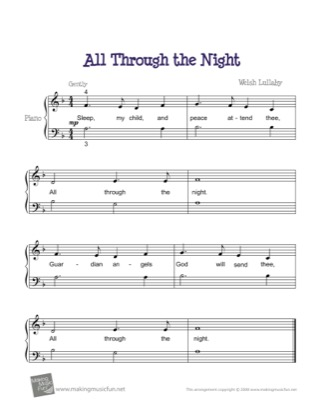 Print and download for free: All Through the Night piano sheet music by Lullaby.