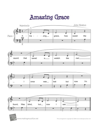Thumbnail of first page of Amazing Grace piano sheet music PDF by Traditional.
