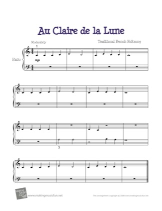 Thumbnail of first page of Au Clair de la Lune piano sheet music PDF by French Traditional.