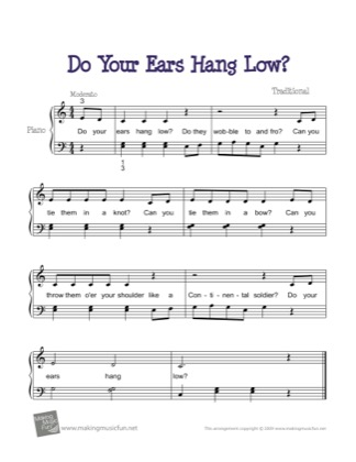 Thumbnail of first page of Do Your Ears Hang Low? piano sheet music PDF by Traditional.