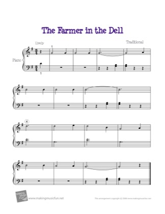 Thumbnail of first page of The Farmer in the Dell piano sheet music PDF by Kids.