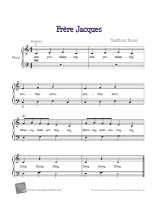 Thumbnail of first page of Frere Jacques piano sheet music PDF by Traditional.