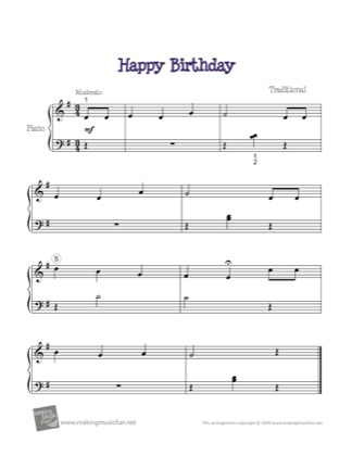 Thumbnail of first page of Happy Birthday piano sheet music PDF by Traditional.