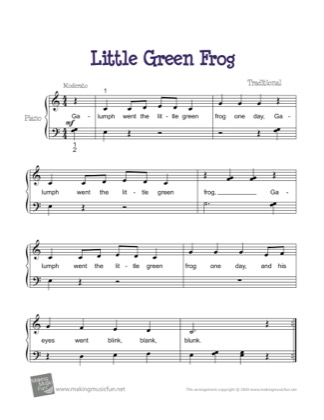 Thumbnail of first page of Little Green Frog (Galumph) piano sheet music PDF by Kids.