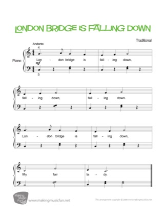Thumbnail of first page of London Bridge piano sheet music PDF by Nursery Rhyme.