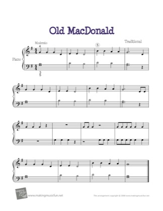 Thumbnail of first page of Old MacDonald piano sheet music PDF by Nursery Rhyme.