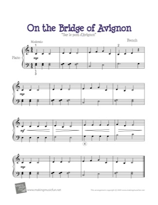 Thumbnail of first page of On the Bridge of Avignon piano sheet music PDF by Kids.