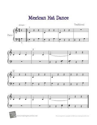 Thumbnail of first page of Mexican Hat Dance piano sheet music PDF by Traditional.