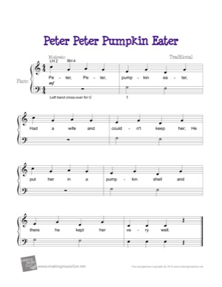 Thumbnail of first page of Peter, Peter Pumpkin Eater (2) piano sheet music PDF by Kids.