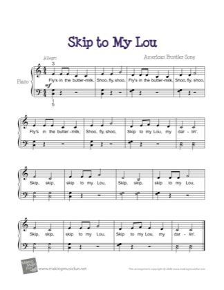 Thumbnail of first page of Skip to My Lou piano sheet music PDF by Kids.