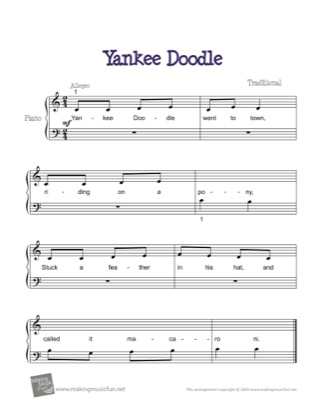 Thumbnail of first page of Yankee Doodle piano sheet music PDF by Kids.