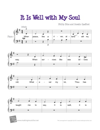 Thumbnail of first page of It Is Well with My Soul piano sheet music PDF by Kids.