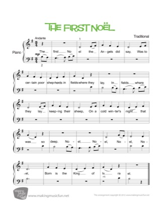 Thumbnail of first page of The First Noel piano sheet music PDF by Christmas.