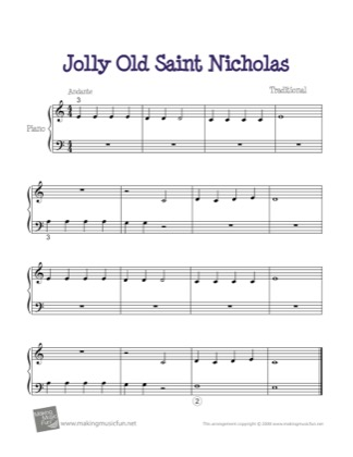 Thumbnail of first page of Jolly Old Saint Nicholas piano sheet music PDF by Christmas.