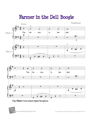Thumbnail of first page of Farmer in the Dell Boogie piano sheet music PDF by Kids.