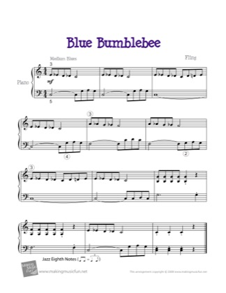 Thumbnail of first page of Blue Bumblebee piano sheet music PDF by Kids.