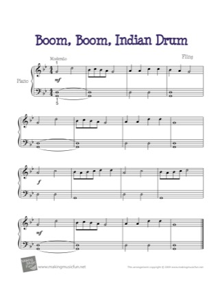 Thumbnail of first page of Boom, Boom, Indian Drum piano sheet music PDF by Kids.