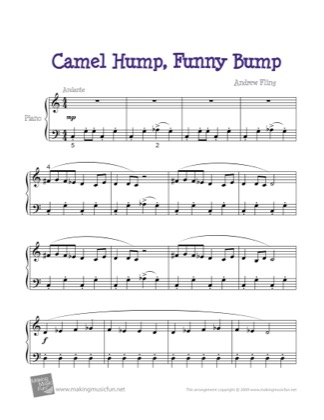 Thumbnail of first page of Camel Hump, Funny Bump piano sheet music PDF by Kids.