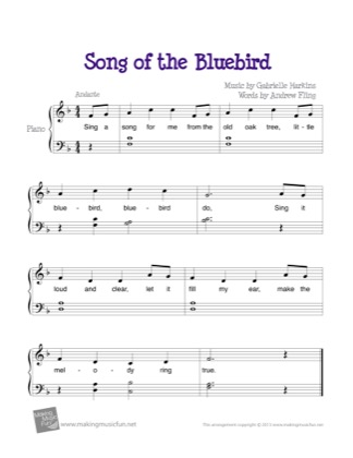 Thumbnail of first page of Song of the Bluebird piano sheet music PDF by Kids.