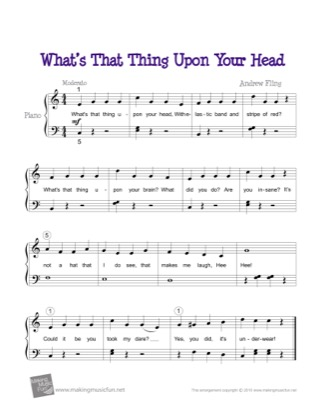 Thumbnail of first page of What's That Thing Upon Your Head? piano sheet music PDF by Kids.