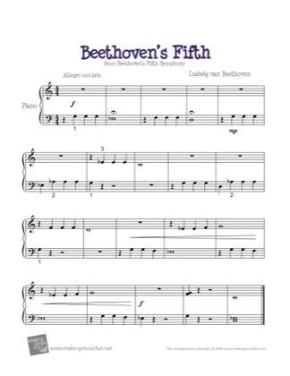 Thumbnail of first page of Beethoven's Fifth piano sheet music PDF by Beethoven.