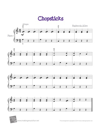 Thumbnail of first page of Chopsticks (Easy) piano sheet music PDF by Euphemia Allen.