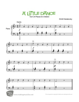 Thumbnail of first page of Dance piano sheet music PDF by Kids.