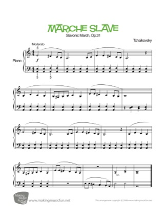 Thumbnail of first page of March Slav piano sheet music PDF by Kids.