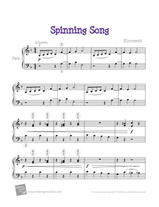 Thumbnail of first page of Spinning Song piano sheet music PDF by Kids.