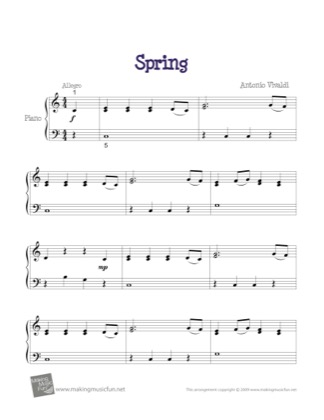 Preview of First Page of Spring (Four Seasons) sheet music by Kids