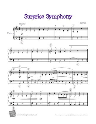 Thumbnail of first page of Surprise Symphony piano sheet music PDF by Kids.