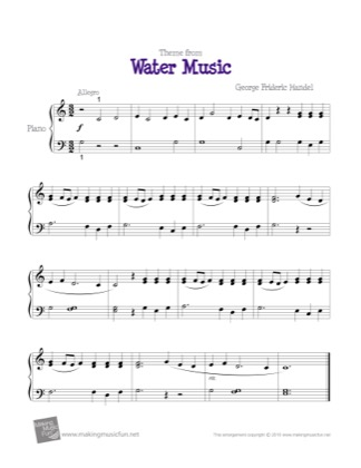Thumbnail of first page of Water Music (Theme) piano sheet music PDF by Kids.