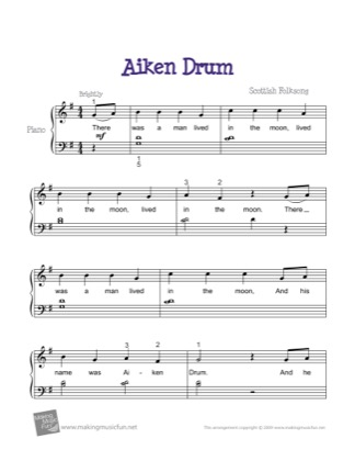 Thumbnail of first page of Aiken Drum piano sheet music PDF by Kids.