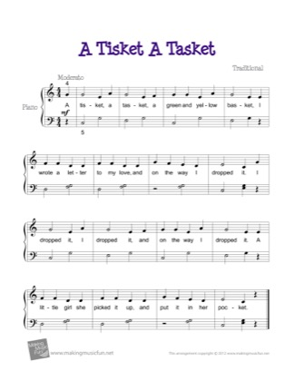Thumbnail of first page of A Tisket A Tasket piano sheet music PDF by Kids.