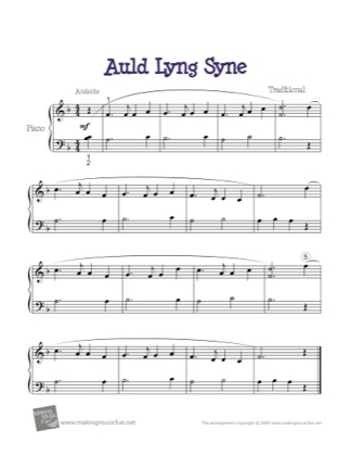 Thumbnail of first page of Auld Lang Syne piano sheet music PDF by Traditional.